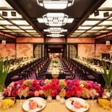 ワンフロアを独占できる「豊明(とよのあかり)」は、華やかな祝宴を実現。着席148名まで可能。