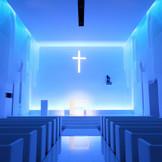 """ブルーのライティングも効果的なシンプルチャペル""""WYN"""" 真っ白なスペースながら純白のウェディングドレスがきれいに映えるよう敢えて新しい色を生み出している。 おふたりが一番輝くように・・・"""