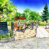 今春ガーデンが【リニューアル♪】フランスの田舎を思わせる温かな空間に生まれ変わる。 木製のウエルカムボード、おしゃれな小物の装飾、自転車ワゴンからサービスされるカラフルなウエルカムドリンクなど、おもてなしが思いのまま。