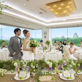 全ての会場から臨む迫力ある大阪城の景色にゲストから驚きの声!特殊ガラスによるあるしかけが…詳しくはフェアへ♪