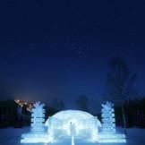 空高くちりばめられた星たちの祝福とアイスブルーに輝く氷の教会。日本一美しい冬の誓いをこの場に捧げる夜