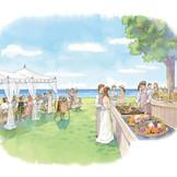 挙式後は、沖縄屈指のリゾートで自由なスタイルのパーティが可能。海を臨む屋外ガーデンでの開放感あふれるおもてなしから、ラグジュアリーな貸切レストランまで多彩。宮古島の自然や美味しい食材にゲストも大満足。