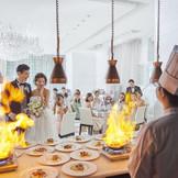 客様の目の前で仕上げるお料理。ゲストの期待感も高まります☆
