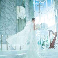 穏やかに揺れる光の波間を抜けるように歩けば、花嫁の純白のトレーンやロングベールがより一層美しく映えるはず