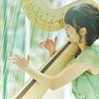 生演奏のハープ。当日はハープ、オルガン、フルートの三重奏で幸せのメロディを奏でます。