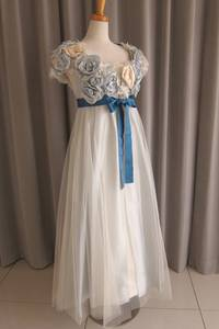 Light-blue rose tulle lace over dress