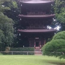 庭園の三重塔