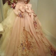 カラードレスピンク小花模様