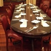 ゲストの楕円テーブル