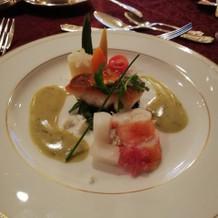 アナ雪コースの魚料理