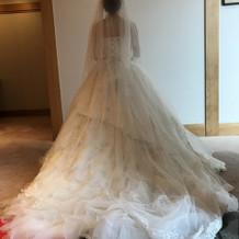 ドレスについた小さいキラキラが光ります