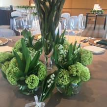 試食会場の装花