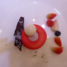 ショコラブランと苺のガナッシュ