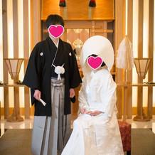 前撮りの和装着用時に神前結婚式場を使用