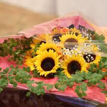 思い出の向日葵を使った花束