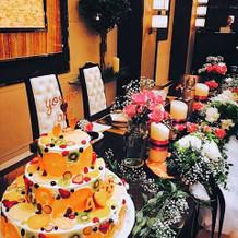 おしゃれケーキとお花