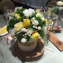 申込後の相談会のテーブル装花(生花)