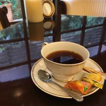 食後にはコーヒーをいただけました。