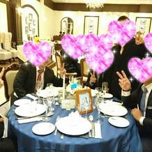 テーブルクロスは青でした