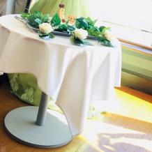 ウエディングケーキは丸テーブルに乗せて。