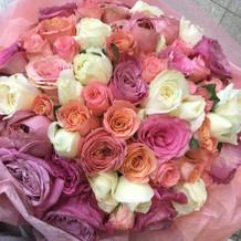 当日の朝頼んでくれたらしい花束