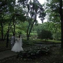 本番:式の前に公園で写真撮影