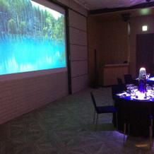 披露宴会場にある大きなスクリーン