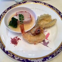 金目鯛のバプール、海老と鱚の天麩羅。