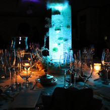 テーブルのLEDライト
