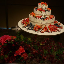 披露宴会場のケーキ台