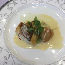白身魚と帆立味噌仕立てヴァンブランソース