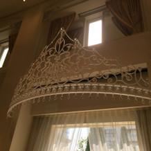 新郎新婦の席の頭上にあるティアラの装飾