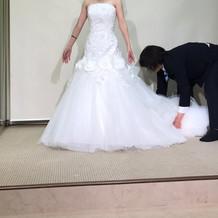 マーメードのウェディングドレスです。