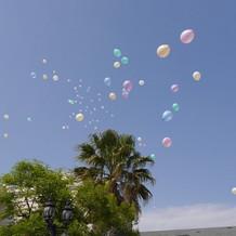 カラフルなバルーンが空を彩ります。