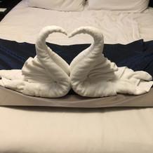 スワン型にセットされたタオル。かわいい!