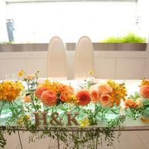 メインテーブルの花々