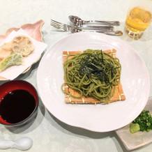 茶そばと野菜天ぷら