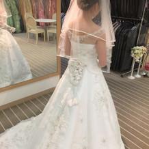 ドレス姿を試着したときの写真です。