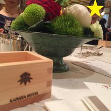 ホテルの紋入りの木升。乾杯後はお土産に。