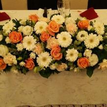 テーブルのお花も種類多いです。