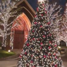 教会の前に綺麗なツリーが飾ってあります。