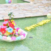 手作りプール装花