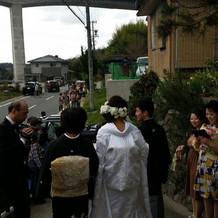 自宅から和装で神社式に行きました