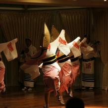 太鼓や楽器を使った阿波踊りもできました。