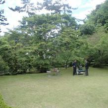 記念撮影できる庭