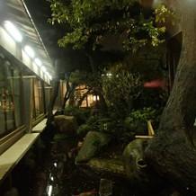 披露宴会場からみえる中庭