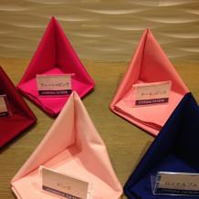 ナプキンは形・色と豊富に選べます