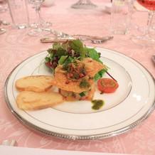 サーモンマリネと蟹サラダ
