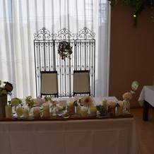 パーティー会場の新郎新婦の席