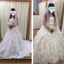 左がプラン内のドレス